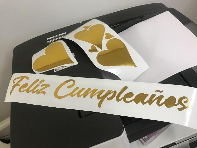 Corazon Metalizado – Feliz Cumpleaños – Vinilo de Corte